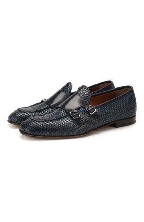 Мужские кожаные монки SILVANO SASSETTI темно-синего цвета, арт. S19990X410XR13PBLUB | Фото 1