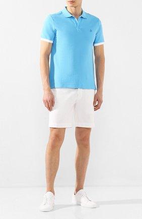 Мужское хлопковое поло VILEBREQUIN голубого цвета, арт. PLTU0N00 | Фото 2