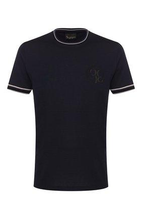 Мужская хлопковая футболка BILLIONAIRE темно-синего цвета, арт. B20C MTK4186 BTE014N | Фото 1