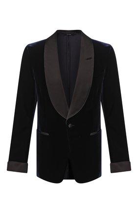 Мужской пиджак из вискозы TOM FORD темно-синего цвета, арт. 6VER48/11S840 | Фото 1