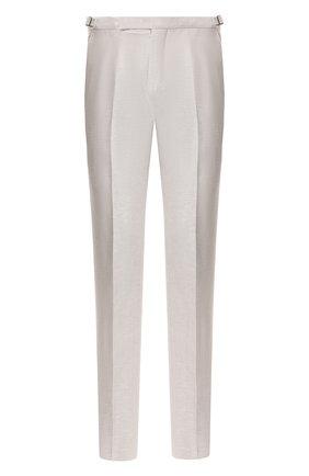 Мужские брюки из смеси шерсти и льна ERMENEGILDO ZEGNA светло-бежевого цвета, арт. 718F00/75F812 | Фото 1