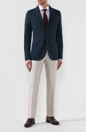 Мужские брюки из смеси шерсти и льна ERMENEGILDO ZEGNA светло-бежевого цвета, арт. 718F00/75F812 | Фото 2
