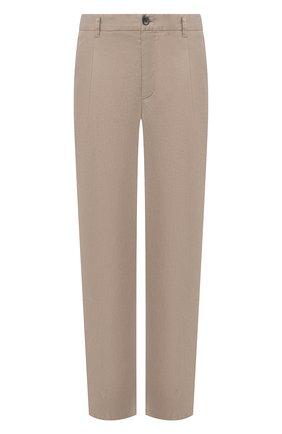 Мужские брюки из смеси льна и хлопка GIORGIO ARMANI бежевого цвета, арт. 0SGPP09Z/T01FI   Фото 1