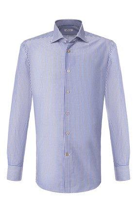 Мужская рубашка из смеси хлопка и льна KITON синего цвета, арт. UCIH0660933 | Фото 1