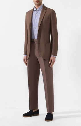 Мужская рубашка из смеси хлопка и льна KITON синего цвета, арт. UCIH0660933 | Фото 2