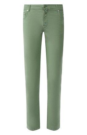 Мужские брюки KITON зеленого цвета, арт. UPNJSJ07S73 | Фото 1 (Материал внешний: Хлопок, Синтетический материал; Длина (брюки, джинсы): Стандартные; Силуэт М (брюки): Чиносы; Случай: Повседневный; Стили: Кэжуэл)