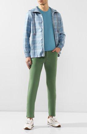 Мужские брюки KITON зеленого цвета, арт. UPNJSJ07S73 | Фото 2 (Материал внешний: Хлопок, Синтетический материал; Длина (брюки, джинсы): Стандартные; Силуэт М (брюки): Чиносы; Случай: Повседневный; Стили: Кэжуэл)
