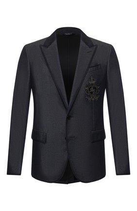 Мужской пиджак из смеси хлопка и шелка DOLCE & GABBANA синего цвета, арт. G2NF3Z/G8CE3 | Фото 1