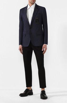 Мужской пиджак из смеси хлопка и шелка DOLCE & GABBANA синего цвета, арт. G2NF3Z/G8CE3 | Фото 2