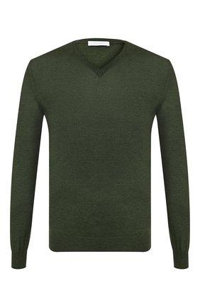 Мужской пуловер из смеси кашемира и шелка CRUCIANI темно-зеленого цвета, арт. CU487B.V03F6V | Фото 1