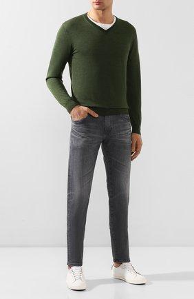 Мужской пуловер из смеси кашемира и шелка CRUCIANI темно-зеленого цвета, арт. CU487B.V03F6V | Фото 2