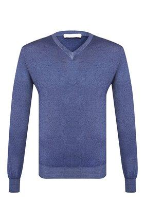 Мужской пуловер из смеси кашемира и шелка CRUCIANI синего цвета, арт. CU487B.V03F6V | Фото 1