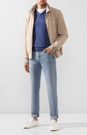 Мужской пуловер из смеси кашемира и шелка CRUCIANI синего цвета, арт. CU487B.V03F6V | Фото 2