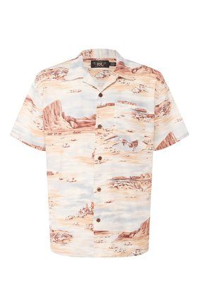 Мужская рубашка из смеси льна и вискозы RRL разноцветного цвета, арт. 782775743 | Фото 1 (Материал внешний: Лен; Рукава: Короткие; Длина (для топов): Стандартные; Случай: Повседневный)
