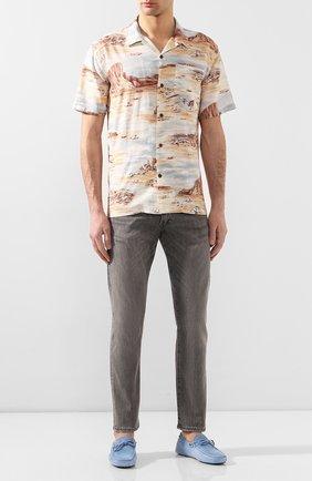 Мужская рубашка из смеси льна и вискозы RRL разноцветного цвета, арт. 782775743 | Фото 2 (Материал внешний: Лен; Рукава: Короткие; Длина (для топов): Стандартные; Случай: Повседневный)
