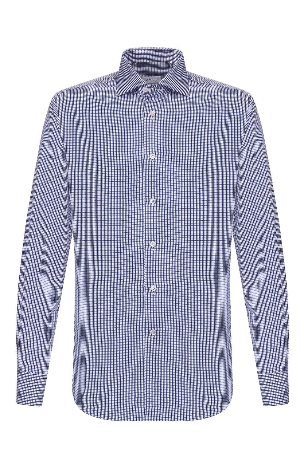 Мужская хлопковая сорочка BRIONI синего цвета, арт. RCL016/P904G   Фото 1