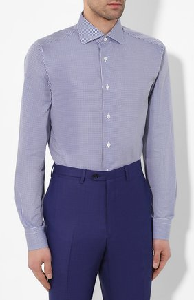 Мужская хлопковая сорочка BRIONI синего цвета, арт. RCL016/P904G   Фото 3