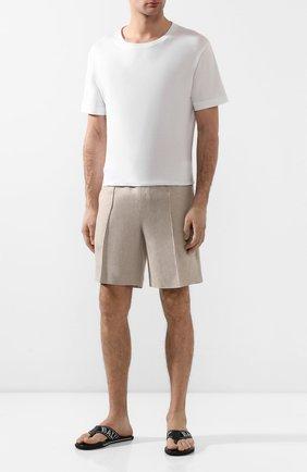 Мужские льняные шорты BRIONI бежевого цвета, арт. RPP10L/P6114/NEW SIDNEY | Фото 2