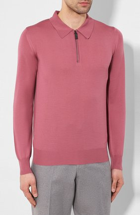 Мужское шерстяное поло BRIONI розового цвета, арт. UMS10L/0ZK18 | Фото 3