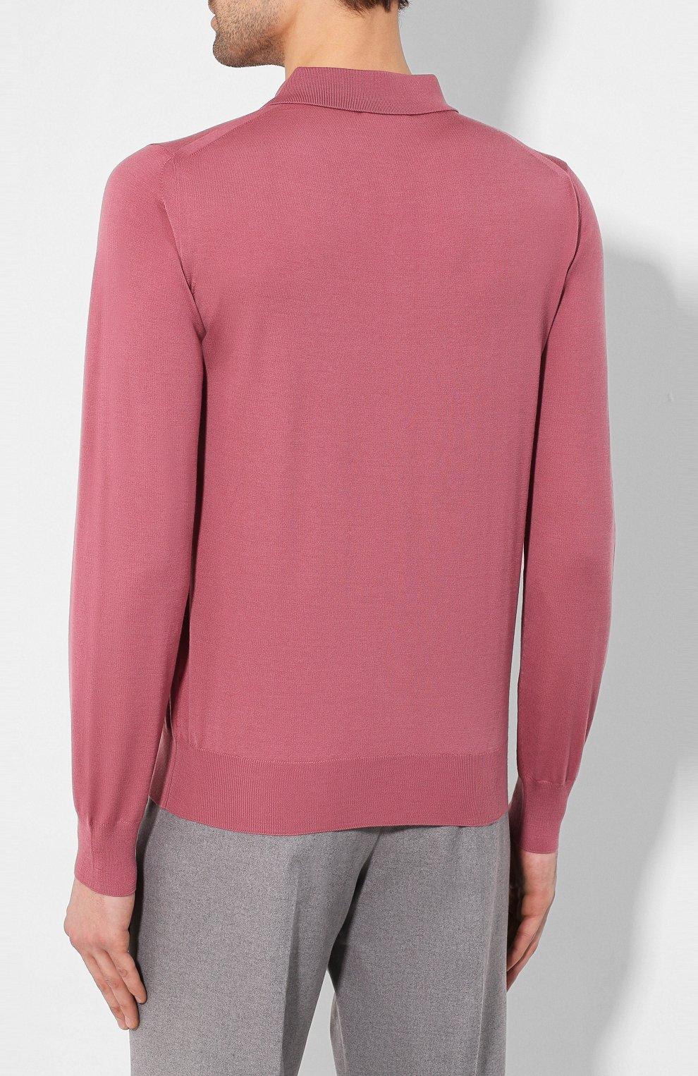 Мужское шерстяное поло BRIONI розового цвета, арт. UMS10L/0ZK18 | Фото 4