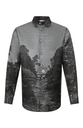 Мужская шелковая рубашка BRIONI темно-серого цвета, арт. SCCS0L/P943U | Фото 1