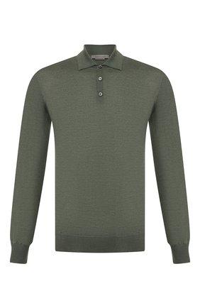 Мужское поло из смеси шерсти и шелка CORNELIANI зеленого цвета, арт. 85M596-0125115/00 | Фото 1