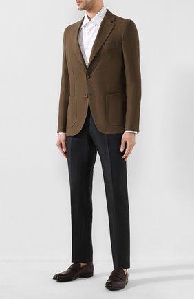 Мужские брюки из смеси шерсти и льна ERMENEGILDO ZEGNA зеленого цвета, арт. 718F01/75F812 | Фото 2