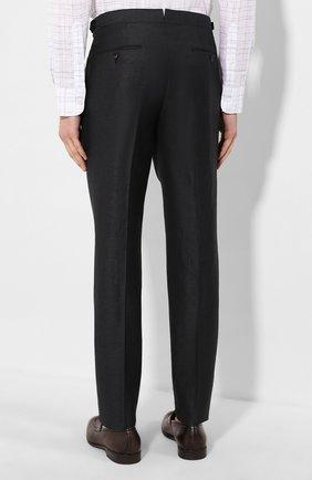 Мужские брюки из смеси шерсти и льна ERMENEGILDO ZEGNA зеленого цвета, арт. 718F01/75F812 | Фото 4