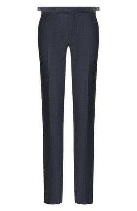 Мужские брюки из смеси шерсти и льна ERMENEGILDO ZEGNA синего цвета, арт. 718F03/75F812 | Фото 1