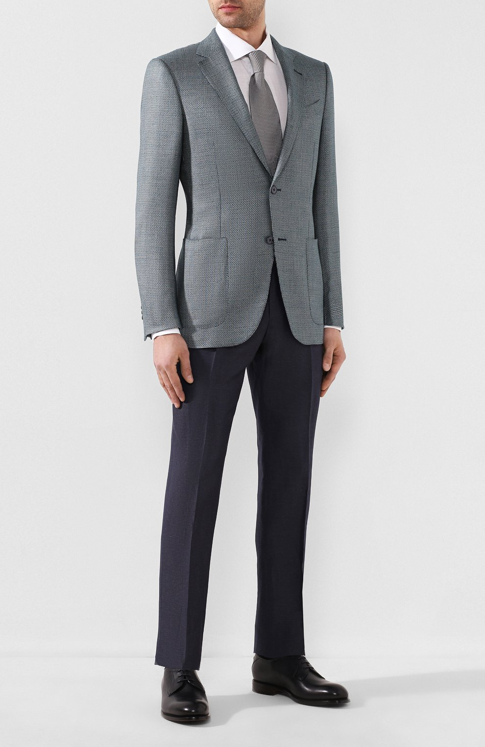 Мужские брюки из смеси шерсти и льна ERMENEGILDO ZEGNA синего цвета, арт. 718F03/75F812 | Фото 2
