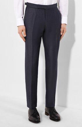 Мужские брюки из смеси шерсти и льна ERMENEGILDO ZEGNA синего цвета, арт. 718F03/75F812 | Фото 3