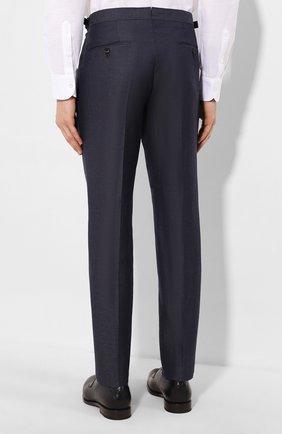 Мужские брюки из смеси шерсти и льна ERMENEGILDO ZEGNA синего цвета, арт. 718F03/75F812 | Фото 4