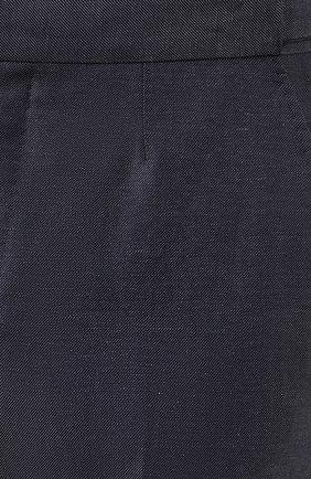 Мужские брюки из смеси шерсти и льна ERMENEGILDO ZEGNA синего цвета, арт. 718F03/75F812 | Фото 5
