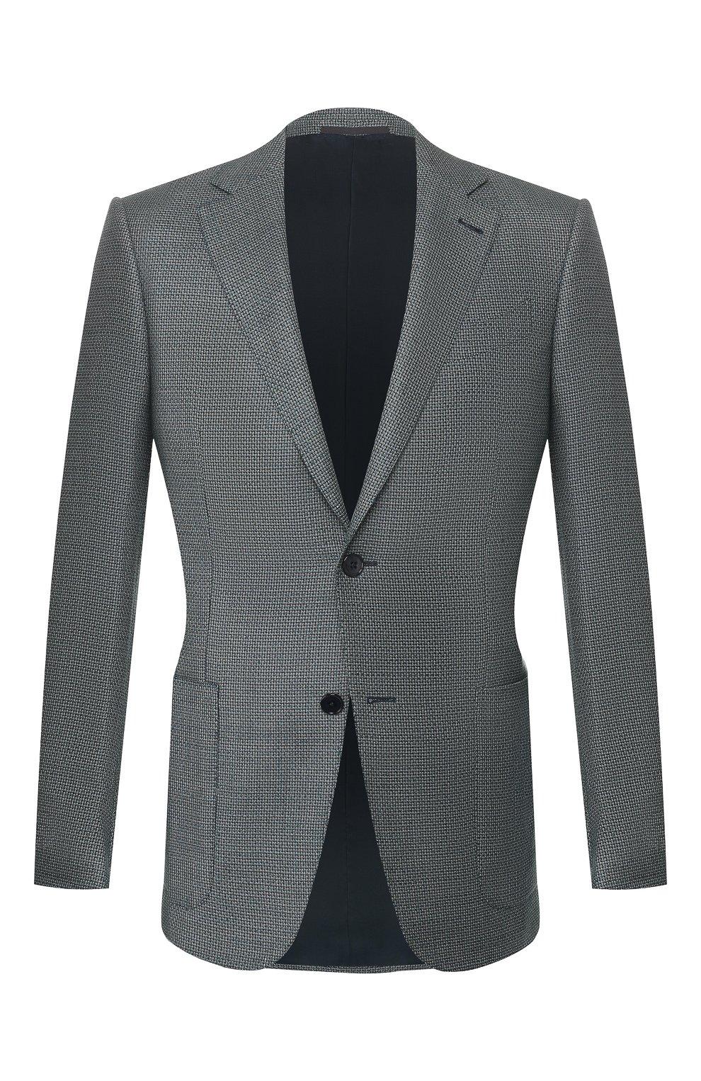 Мужской пиджак из смеси шелка и шерсти ERMENEGILDO ZEGNA бирюзового цвета, арт. 749074/122520 | Фото 1