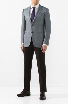 Мужской пиджак из смеси шелка и шерсти ERMENEGILDO ZEGNA бирюзового цвета, арт. 749074/122520 | Фото 2