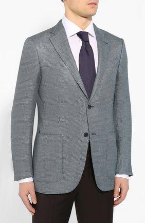 Мужской пиджак из смеси шелка и шерсти ERMENEGILDO ZEGNA бирюзового цвета, арт. 749074/122520 | Фото 3