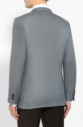 Мужской пиджак из смеси шелка и шерсти ERMENEGILDO ZEGNA бирюзового цвета, арт. 749074/122520 | Фото 4