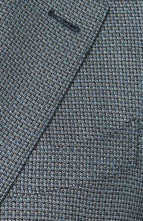 Мужской пиджак из смеси шелка и шерсти ERMENEGILDO ZEGNA бирюзового цвета, арт. 749074/122520 | Фото 5