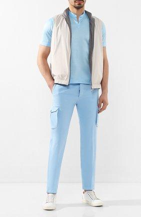 Мужские хлопковые брюки-карго KITON голубого цвета, арт. UFPPCA/J07S48   Фото 2