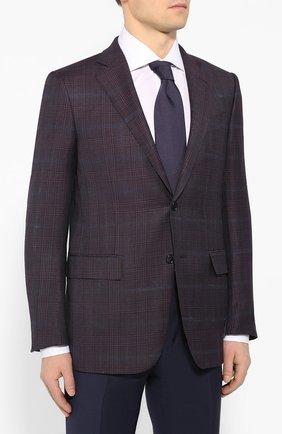 Мужской шерстяной пиджак ERMENEGILDO ZEGNA фиолетового цвета, арт. 752520/121220 | Фото 3