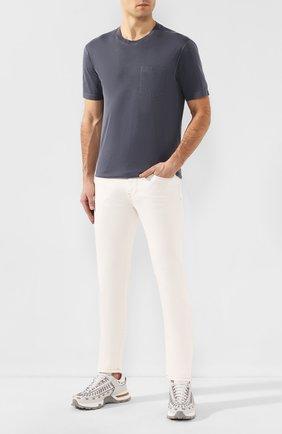 Мужская хлопковая футболка Z ZEGNA темно-серого цвета, арт. VU373/ZZ679   Фото 2