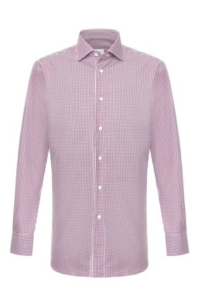 Мужская хлопковая сорочка BRIONI фиолетового цвета, арт. RCL810/P906Q | Фото 1 (Материал внешний: Хлопок; Рукава: Длинные; Длина (для топов): Стандартные; Случай: Повседневный)