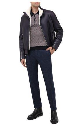 Мужское поло из смеси шерсти и шелка BRIONI темно-синего цвета, арт. UMR30L/P9K30 | Фото 2