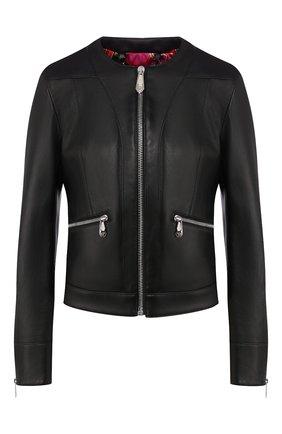 Женская кожаная куртка PHILIPP PLEIN черного цвета, арт. S20C WLB0660 PLE010N | Фото 1