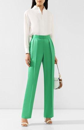 Женские шелковые брюки RALPH LAUREN зеленого цвета, арт. 290788140 | Фото 2