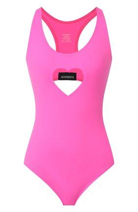 Женский слитный купальник VETEMENTS розового цвета, арт. SS20TR346 1350/W | Фото 1