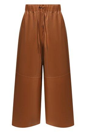 Женские кожаные брюки YVES SALOMON коричневого цвета, арт. 9EYP234XXAPXX | Фото 1