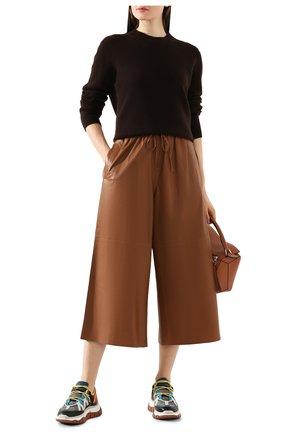 Женский кожаные кюлоты YVES SALOMON коричневого цвета, арт. 9EYP234XXAPXX   Фото 2