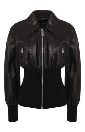 Женская кожаная куртка DOLCE & GABBANA черного цвета, арт. F9H66L/HULD8 | Фото 1