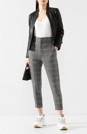 Женские брюки ISABEL MARANT ETOILE черно-белого цвета, арт. PA0718-20P010E/N0AH   Фото 2